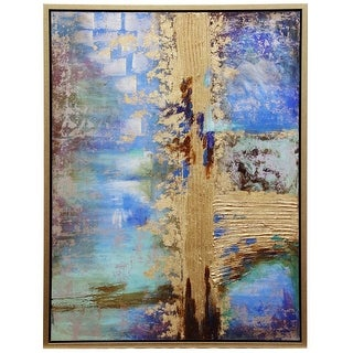 Harp And Finial Hfw32890 Largo 42 X 32 Framed Abstract Painting On Canvas Blue Gold Overstock Com Shopping The Best Deals On Unframed Prints