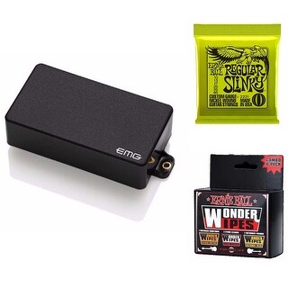 EMG 81 Active Guitar Humbucker Pickup (Black) Includes Strings, and Cleaner