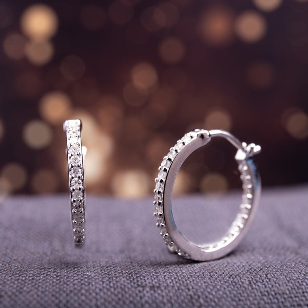 Miadora Sterling Silver 1/2ct TDW Diamond Inside Outside Hoop Earrings - 18 mm x 1.8 mm x 18 mm - 18 mm x 1.8 mm x 18 mm. Opens flyout.