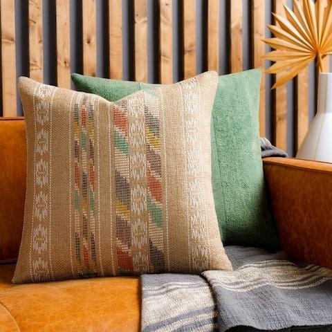 Matias Hand Woven Boho Stripe Throw Pillow