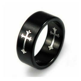 Black Stainless Steel Cross Band