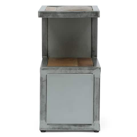 """Wessor Modern Industrial Handcrafted Mango Wood Side Table by Christopher Knight Home - 15.75"""" L x 11.75"""" W x 23.75"""" H"""