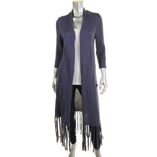 NY Collection Womens Fringe Open Front Cardigan Sweater