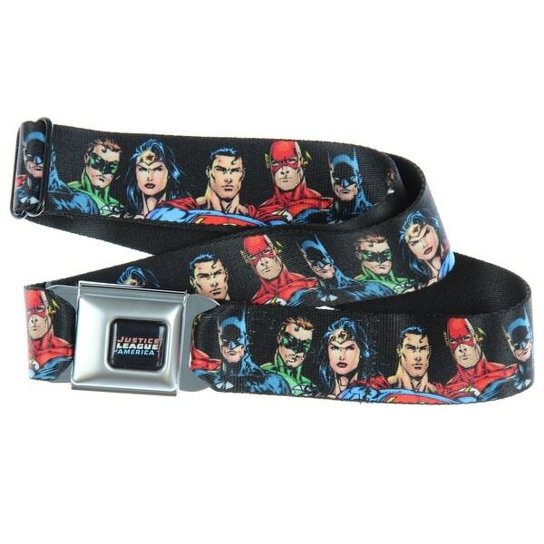 Justice League Superheroes Faces Seatbelt Belt-Holds Pants Up