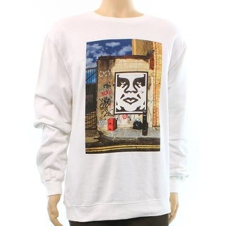 Obey NEW White Mens Size Large L Cotton Crewneck Graphic Sweater