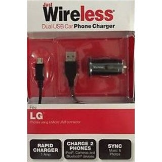 Just Wireless 705954031680 03168 Dual USB Car Phone Charger with (Refurbished)