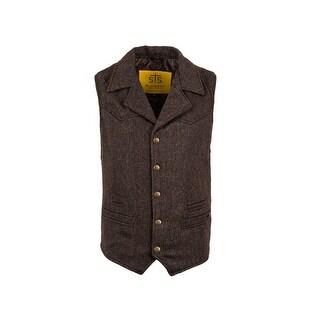 StS Ranchwear Western Vest Mens Gambler Snap Wool Brown
