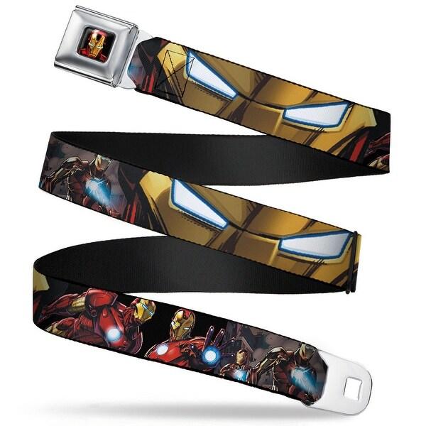 Marvel Avengers Iron Man 3 D Face Full Color Marvel Avengers Cityscape Iron Seatbelt Belt