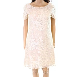 West 22 NEW Beige Womens Size Medium M Floral Embroidered Sheath Dress