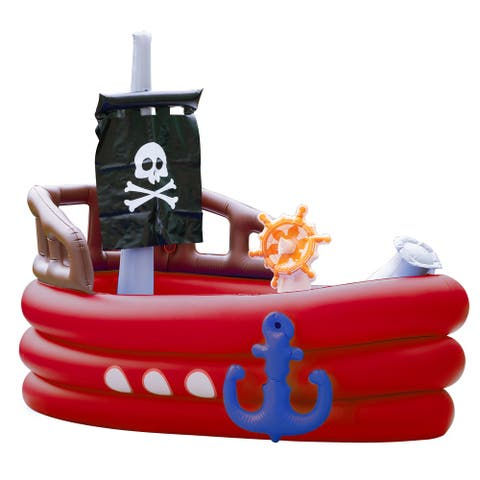 Teamson Kids - Water Fun Pirate boat Inflatable Sprinkler Play Center with pump - Red