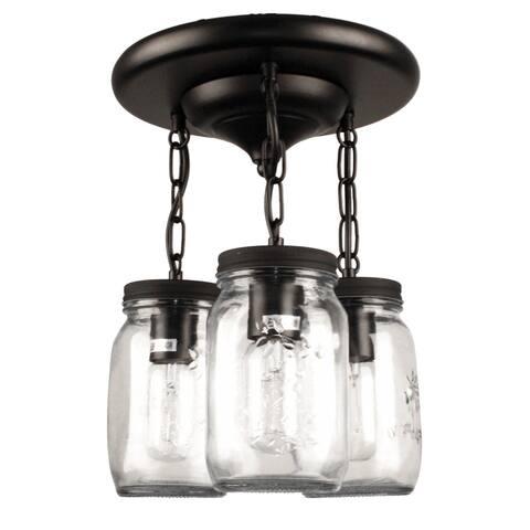 Mason Jar Chandelier Semi-Flush Mount, 1/3/5 Light