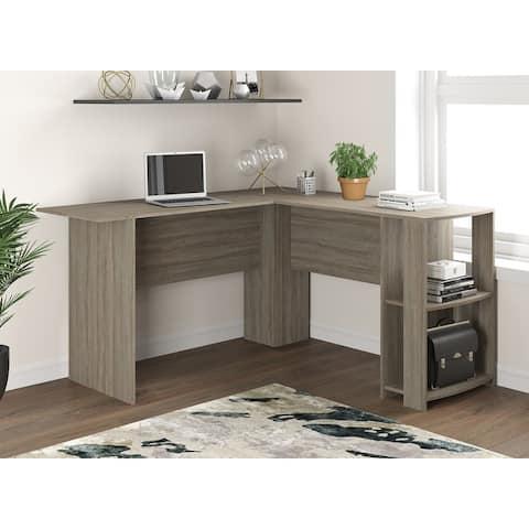 Computer Desk 55L Dark Taupe L-Shaped 2 Shelves