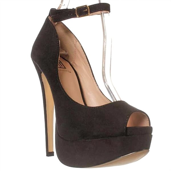 Signature Selita Ankle Strap Pump Heels - Black