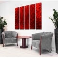 Statements2000 Huge Red 5 Panel Metal Wall Art Painting by Jon Allen - Red Hypnotic Sands Epic - Thumbnail 3