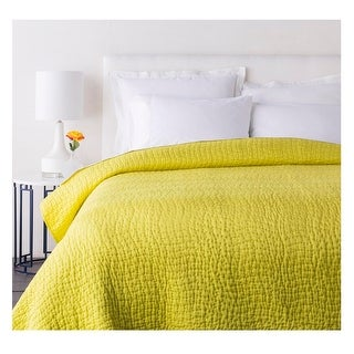 Sweet Dreams Handsomely Woven Marigold Yellow Cotton and Silk King Quilt