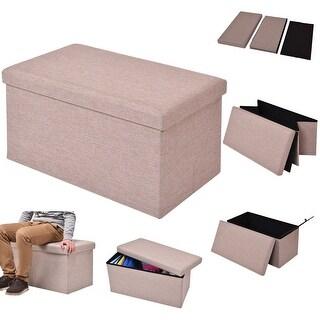 Costway Folding Rect Ottoman Bench Storage Stool Box Footrest Furniture Home Decor beige