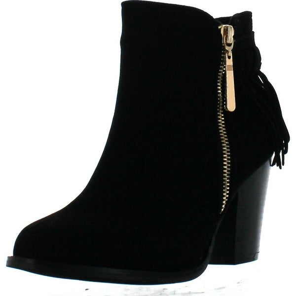 Bella Marie Kenzie-27 Women's Delicate Zip Up Fringe Mid Stacked Ankle Bootie - Black