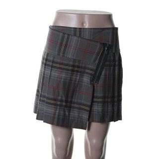 Aqua Womens Plaid Flannel Mini Skirt - XS