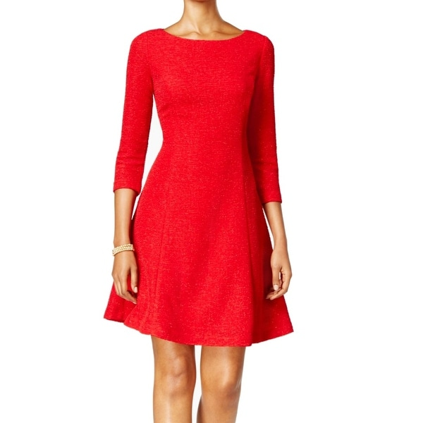 e4dd9ee2877f Shop Jessica Howard NEW Red Womens Size 16 Textured Glitter Sheath Dress - Free  Shipping On Orders Over $45 - Overstock - 17799937