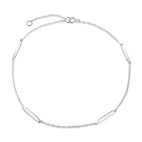 Simple Strong 925 Sterling Silver Bar Chain Anklet Ankle Bracelet