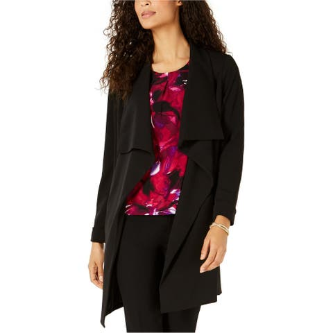 Kasper Womens Open Front Jacket, Black, Medium