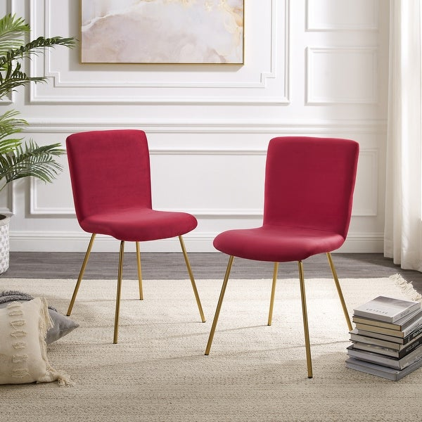 Art-Leon Modern Velvet Fabric Dining Chairs Set of 2 with Golden Legs. Opens flyout.