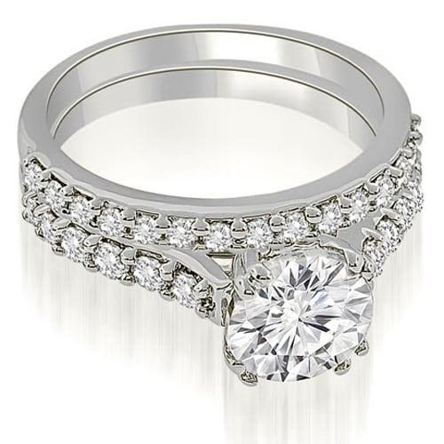 1.30 cttw. 14K White Gold Cathedral Round Cut Diamond Bridal Set