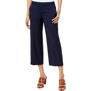 Tommy Hilfiger Womens Cropped Pants Wide-Leg Sailor Button