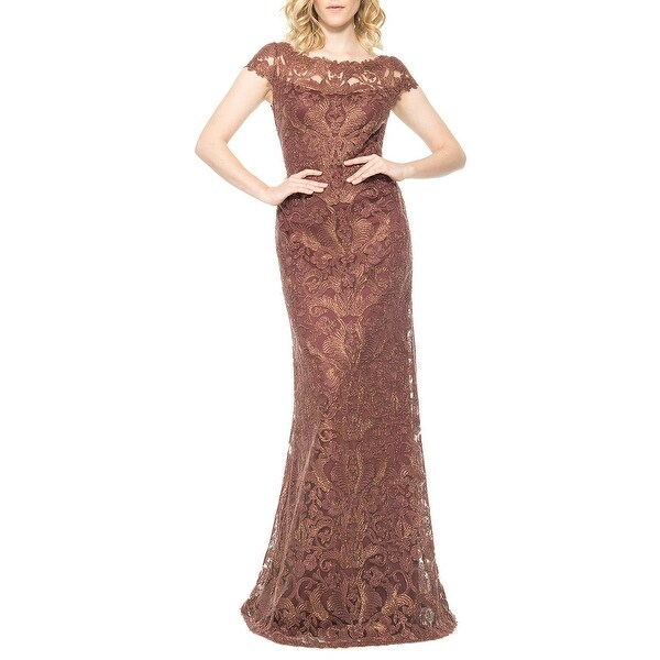 Tadashi Shoji Corded Embroidery On Tulle Cap Sleeve Evening Gown Dress