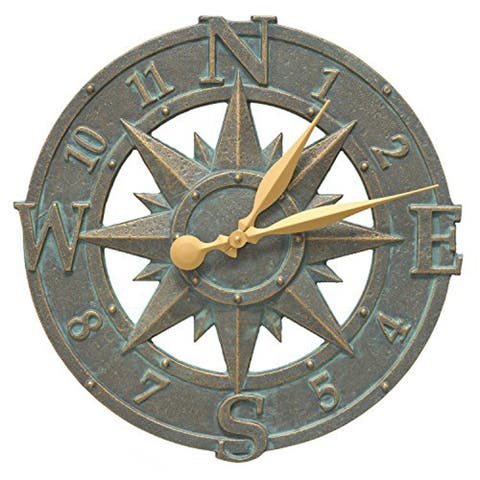 """Whitehall Compass Rose 16"""" Indoor/Outdoor Wall Clock (Bronze Verdigris) - bronze verdigris"""