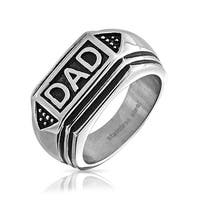 Bling Jewelry Stainless Steel Black Enamel Geometric Mens Dad Ring