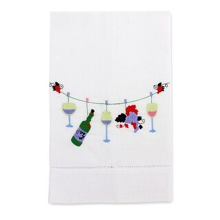 Wine On The Line Embroidered Linen Tea Towel