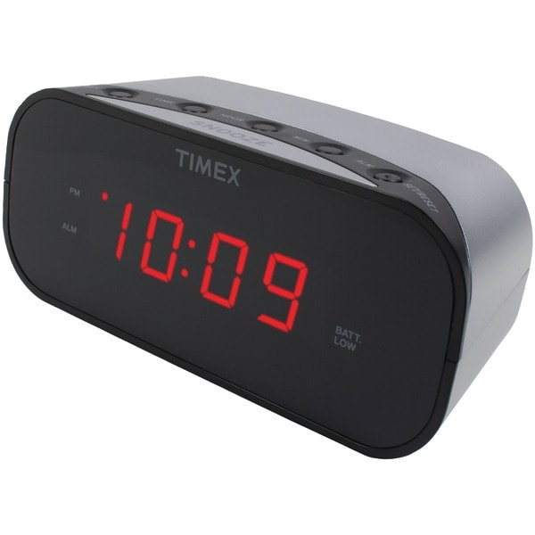 "Timex T121S Alarm Clock With .7"" Red Display (Silver)"
