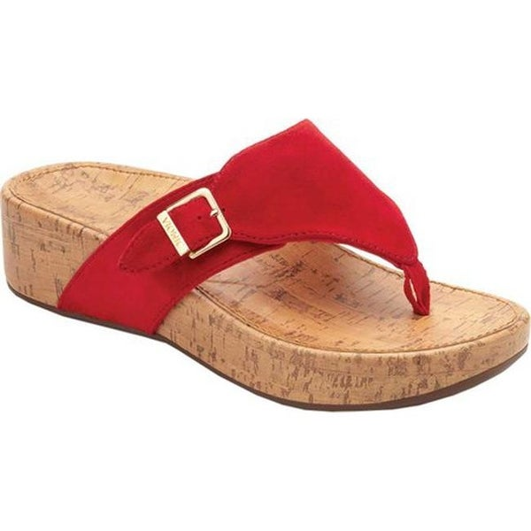 Shop Vionic Women S Marbella Thong Sandal Red Suede Free