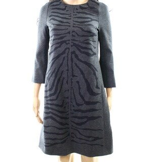 Escada NEW Gray Womens Size XS Animal Printed Wool Sheath Dress