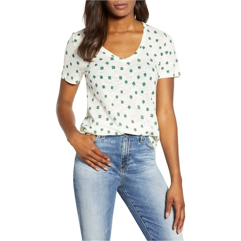 Lucky Brand Womens Clover Graphic T-Shirt, White, X-Large