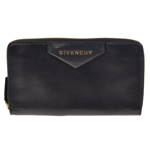 Givenchy Smooth Black Leather Continental Zip Around Wallet