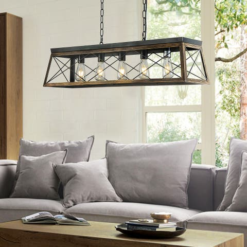 5-Lights Square/Rectangle Island Chandelier with Antique Brass