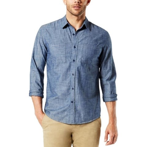 Dockers Mens Shirt Solid Chambray Blue Size XL Button Down Slim Fit