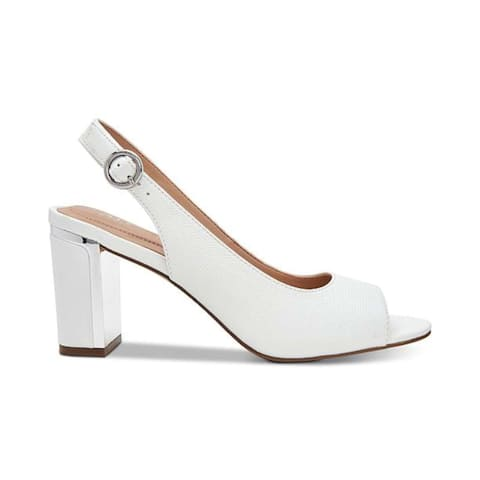 Alfani Womens Florraal Leather Open Toe Ankle Strap Classic Pumps