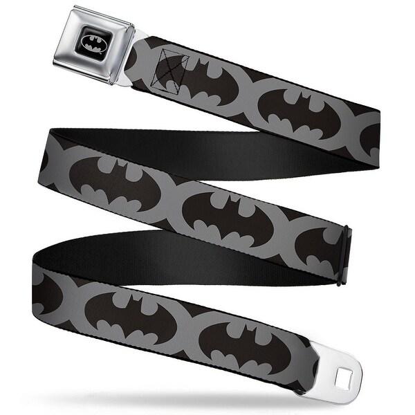 Batman Full Color Black Silver Black Bat Signal 5 Black Gray Black Webbing Seatbelt Belt
