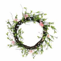 12 in. Green Pink & Purple Decorative Artificial Spring Floral Twi