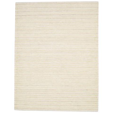 One of a Kind Flatweave Modern 5' x 8' Solid Wool Tan Rug - 5' x 7'