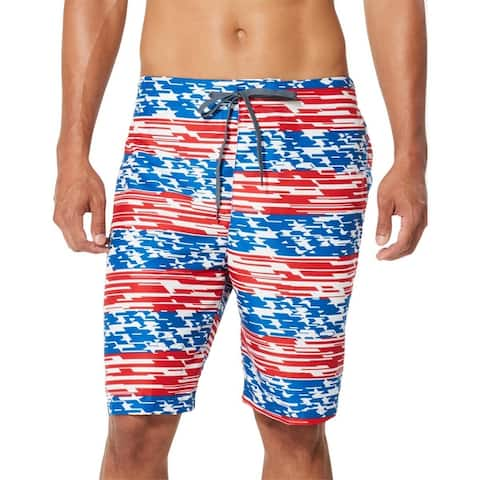 "Speedo Mens Home Free Patriotic 9"" Inseam Board Shorts - Classic Blue"