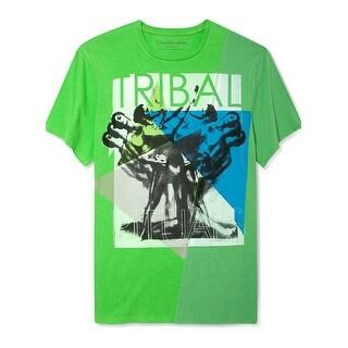 Calvin Klein Tribal Rituals Mens Graphic Tee Shirt X-Large Fresh Green