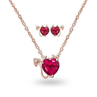 Bling Jewelry Rose Gold Plated Silver Red CZ Devil Heart Set