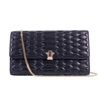 Cavalli Womens Black Textured Leather Chained Crossbody Wallet - S