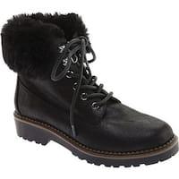 Portland Boot Company Women's Brooklyn Hiker Boot Black Faux Nubuck