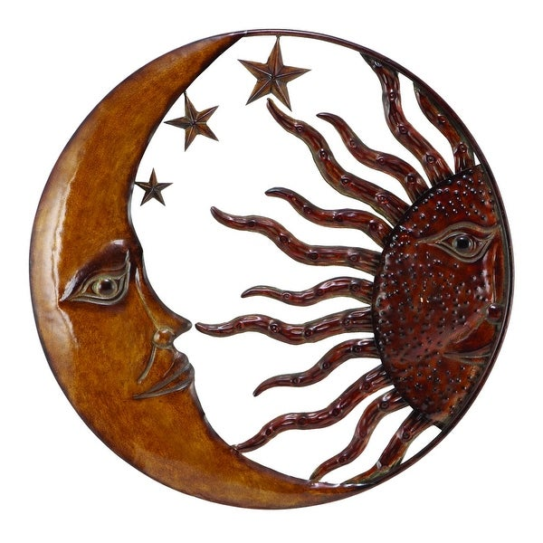 Celestial Metal Sun Star Moon Wall Hanging Decor, Bronze Gold and Rust Red. Opens flyout.