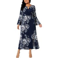 NY Collection Womens Plus Maxi Dress Floral Print Casual